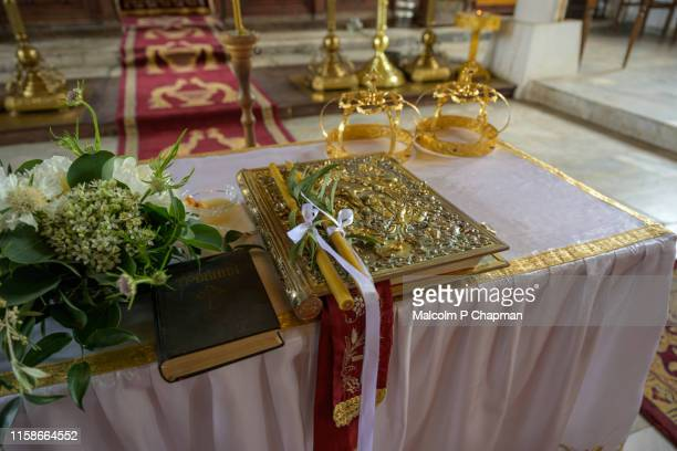 orthodox wedding - crowns and candles, sozopol, burgas, bulgaria - orthodox church stock pictures, royalty-free photos & images