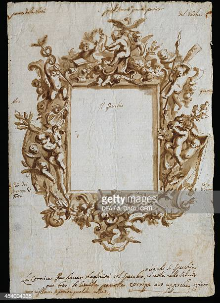 Orthogonal drawing for an allegorical frame ca 1700 by Andrea Brustolon watercolour pen on white paper Italy 18th century Belluno Museo Civico