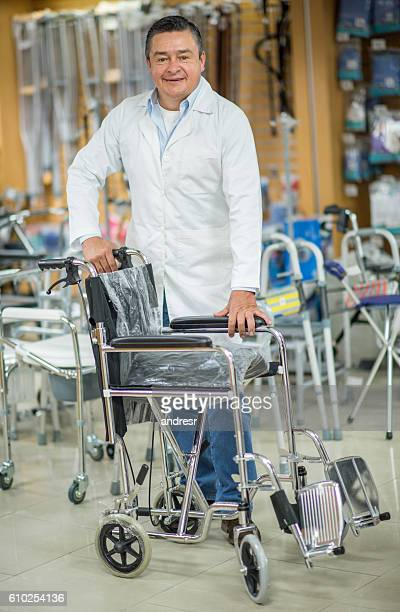 Orthopedist selling wheelchairs at a pharmacy