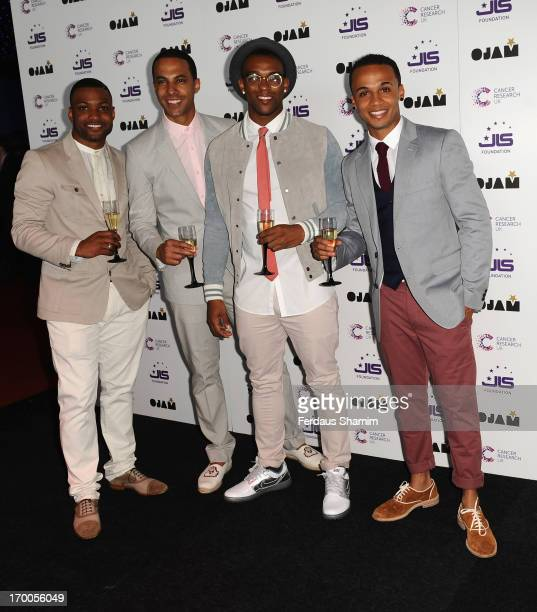 Ortis Williams Marvin Humes J B Gill and Aston Merrygold formerly JLS attend the JLS Foundation and Cancer Research UK fundraiser at Battersea...