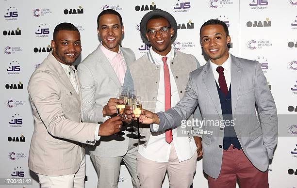 Ortise Williams Marvin Humes J B Gill and Aston Merrygold formerly of JLS attend the JLS Foundation and Cancer Research UK fundraiser at Battersea...