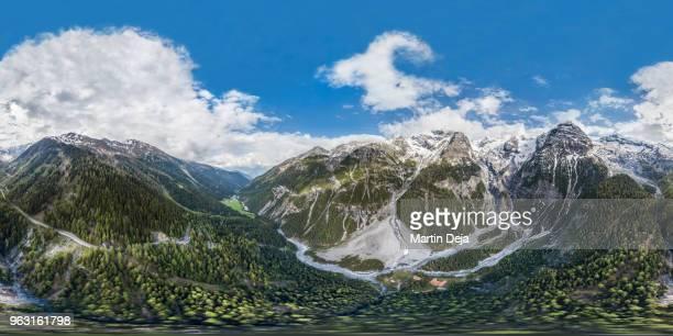 ortler alps stelvio pass 360° hdr aerial spherical panorama - hdri 360 ストックフォトと画像