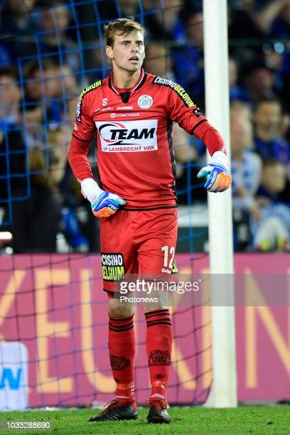 Ortwin De Wolf goalkeeper of Lokeren issues instructions to his teammates during the Jupiler Pro League match between Club Brugge and KSC Lokeren OV...