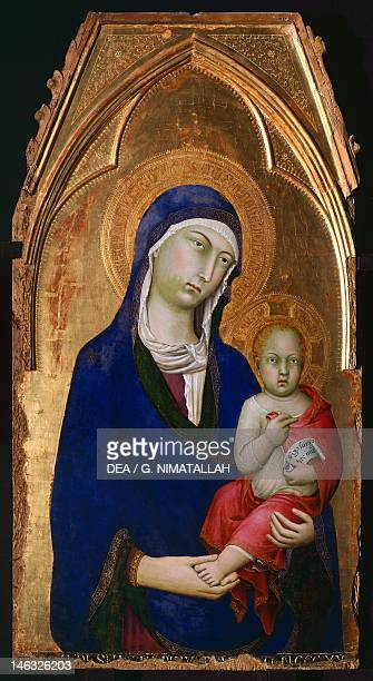 Orvieto Museo Claudio Faina The Madonna and Child 1323 to 1324 detail from the Altarpiece of St Dominic by Simone Martini tempera and gold on wood...