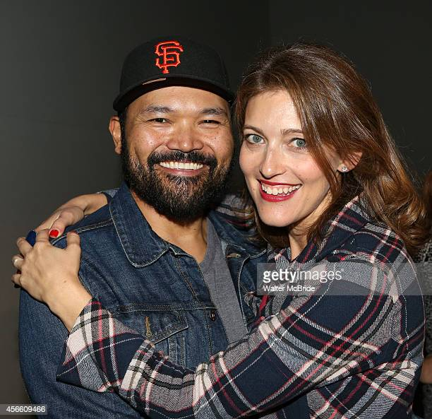 Orville Mendoza and Sandy Rustin from 'Found' attend an Exclusive Apple Soho Store First Public Live Performance Creative Discussion at the Apple...