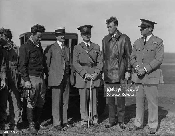 Orville Wright, Major John F. Curry, and Colonel Charles Lindbergh, who came to pay Orville a personal call at Wright Field, Dayton, Ohio. June 22,...