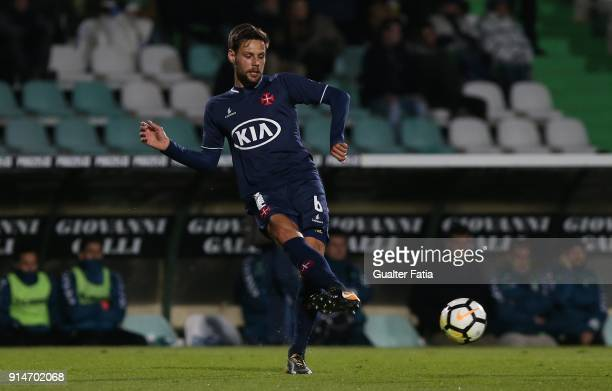 Os Belenenses defender Vincent Sasso from France in action during the Primeira Liga match between Vitoria Setubal and CF Os Belenenses at Estadio do...