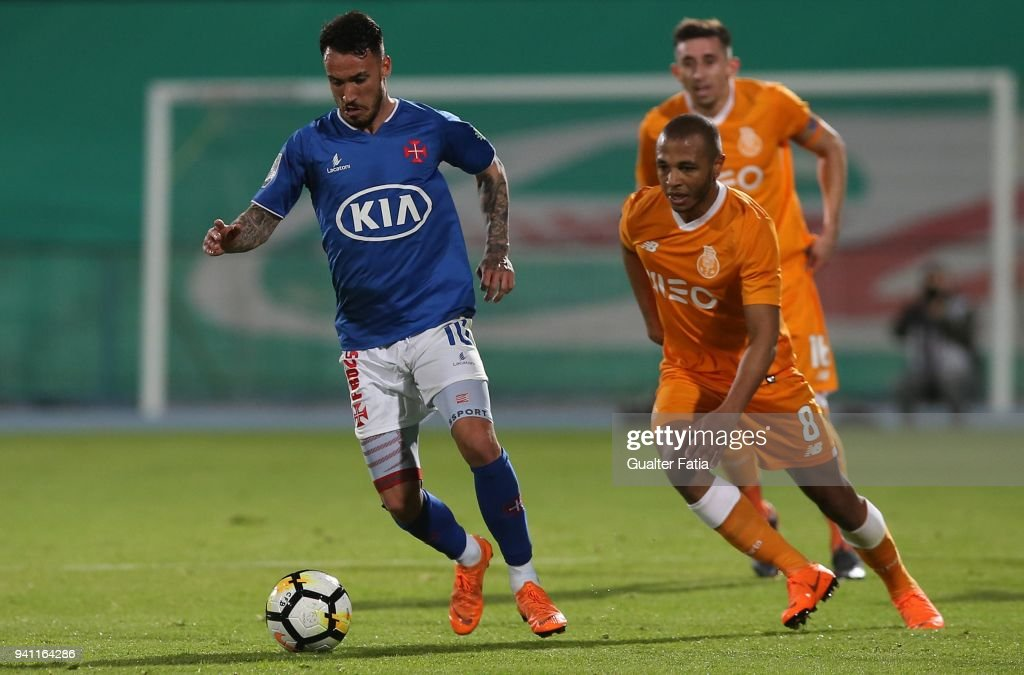 CF Os Belenenses forward Diogo Viana from Portugal with FC Porto forward Yacine Brahimi from Algeria in action during the Primeira Liga match between CF Os Belenenses and FC Porto at Estadio do Restelo on April 2, 2018 in Lisbon, Portugal.