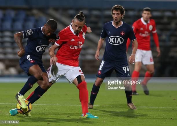 Os Belenenses forward Fredy from Angola with SL Benfica midfielder Ljubomir Fejsa from Serbia in action during the Primeira Liga match between CF Os...