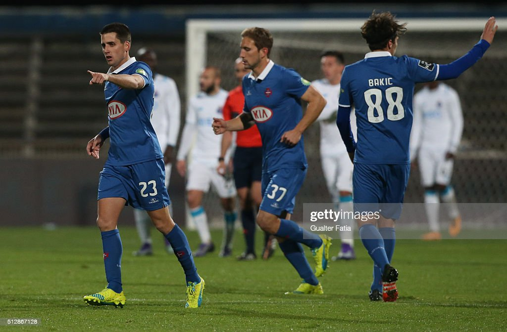 Os Belenenses' forward from Spain Juanto Ortuno celebrates after scoring a goal during the Primeira Liga match between Os Belenenses and FC Porto at Estadio do Restelo on February 28, 2016 in Lisbon, Portugal.
