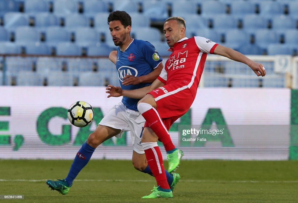 CF Os Belenenses forward Lica from Portugal with SC Braga defender Jefferson from Brazil in action during the Primeira Liga match between CF Os Belenenses and SC Braga at Estadio do Restelo on April 29, 2018 in Lisbon, Portugal.