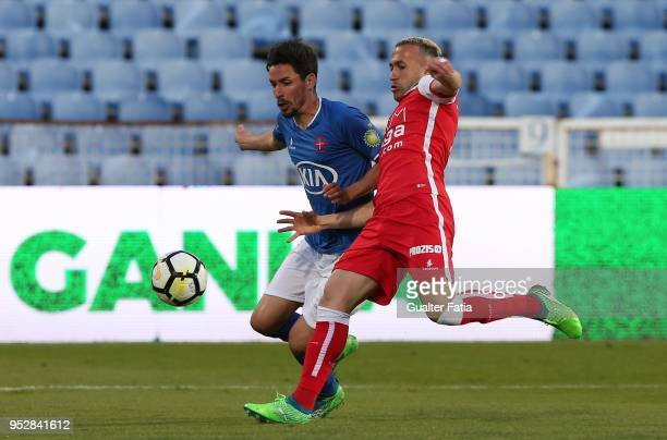 Os Belenenses forward Lica from Portugal with SC Braga defender Jefferson from Brazil in action during the Primeira Liga match between CF Os...