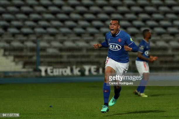 Os Belenenses forward Maurides from Brazil celebrates scoring Belenenses second goal during the Primeira Liga match between CF Os Belenenses and FC...