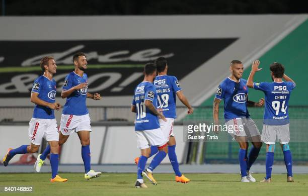 Os Belenenses forward Maurides from Brazil celebrates with teammates after scoring a goal during the Primeira Liga match between CF Os Belenenses and...