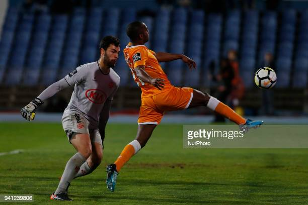 CF Os Belenenses Goalkeeper Andre Moreira from Portugal and FC Porto Defender Ricardo Pereira from Portugal during the Premier League 2017/18 match...