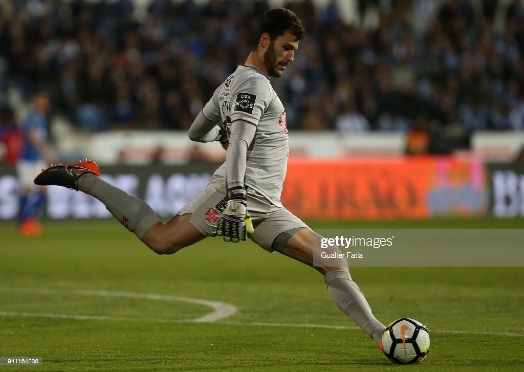CF Os Belenenses goalkeeper Andre Moreira from Portugal in action during the Primeira Liga match between CF Os Belenenses and FC Porto at Estadio do Restelo on April 2, 2018 in Lisbon, Portugal.