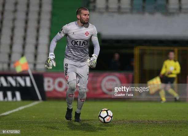 Os Belenenses goalkeeper Filipe Mendes from Portugal in action during the Primeira Liga match between Vitoria Setubal and CF Os Belenenses at Estadio...