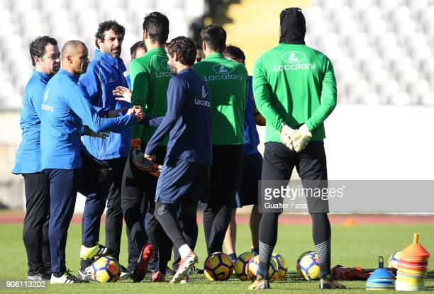 Os Belenenses head coach Silas from Portugal welcomes players during the first training session of new CF Os Belenenses head coach at Estadio do...