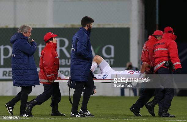 Os Belenenses midfielder Filipe Chaby from Portugal leaves the pitch injured during the Primeira Liga match between GD Estoril Praia and CF Os...