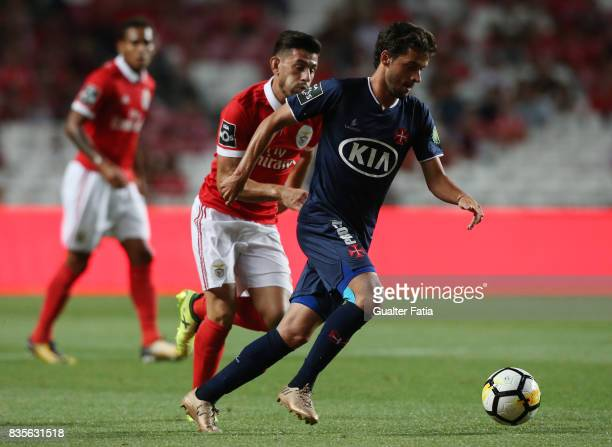 Os Belenenses midfielder Filipe Chaby from Portugal with SL Benfica forward Pizzi from Portugal in action during the Primeira Liga match between SL...