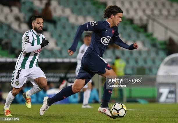 Os Belenenses midfielder Marko Bakic from Montenegro with Vitoria Setubal midfielder Joao Costinha from Portugal in action during the Primeira Liga...