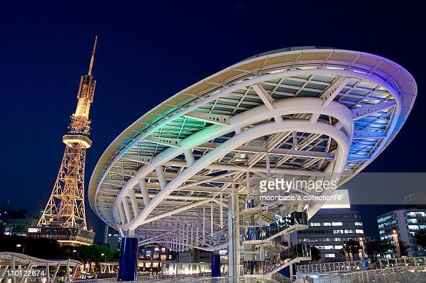 osaka 21 and television tower - nagoya stock pictures, royalty-free photos & images