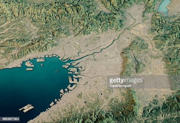 osaka 3d render satellite view topographic map horizontal - frank ramspott stock pictures, royalty-free photos & images
