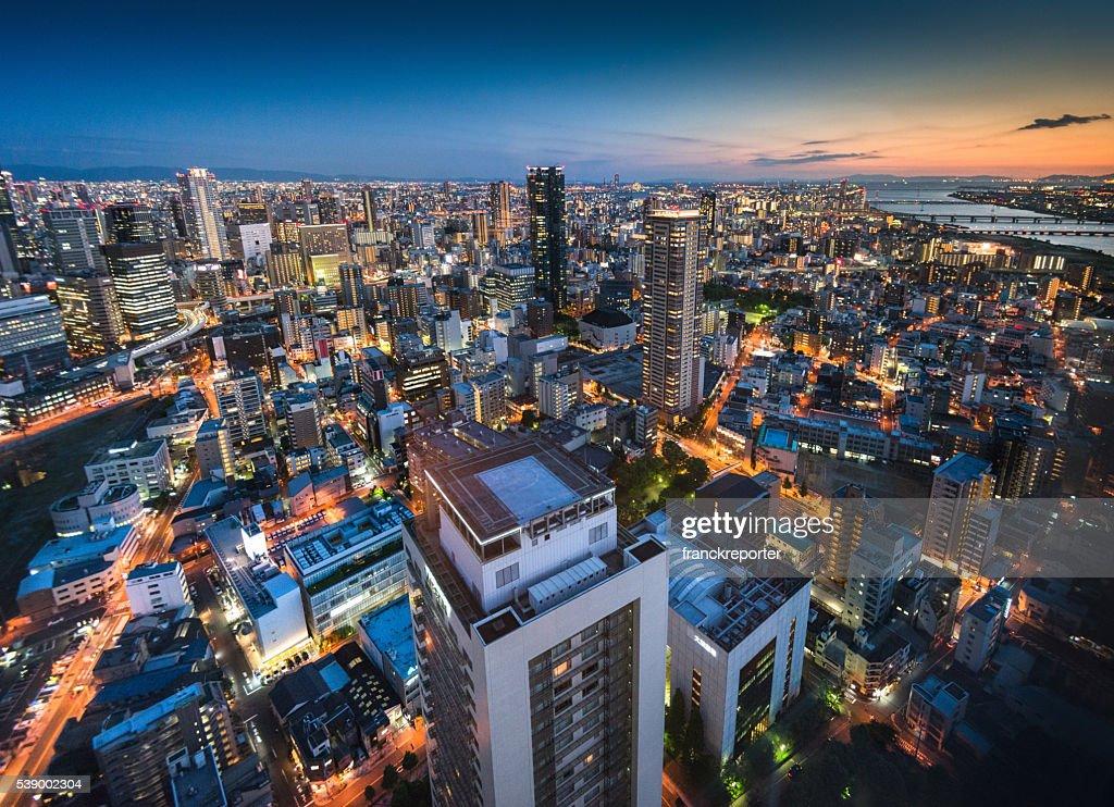 osaka Luftaufnahme auf die Nacht : Stock-Foto