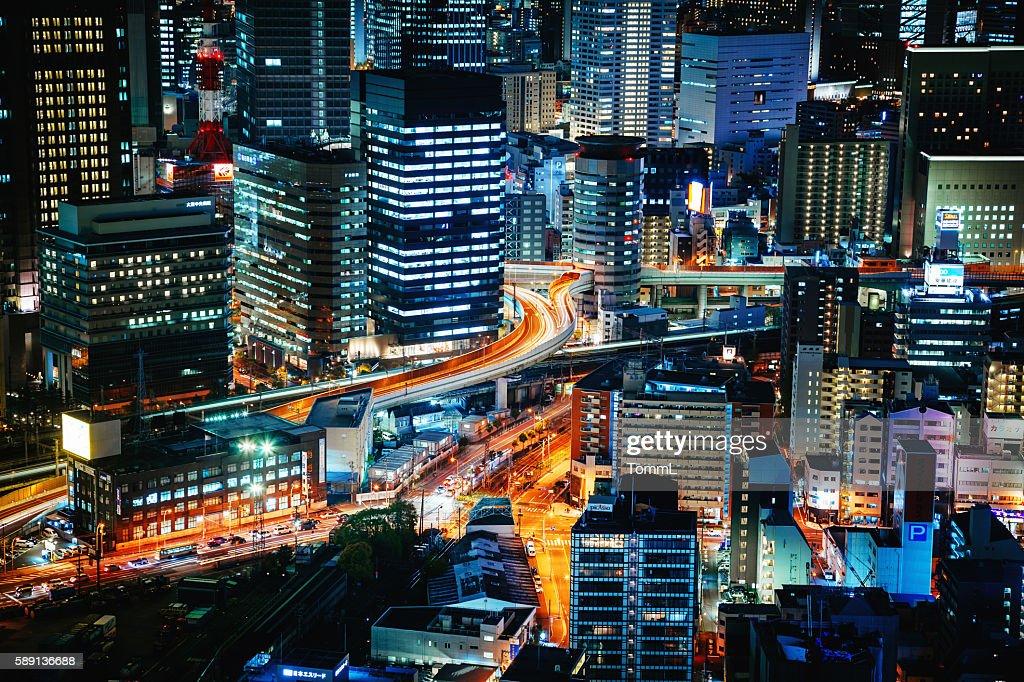 Osaka bei Nacht  : Stock-Foto