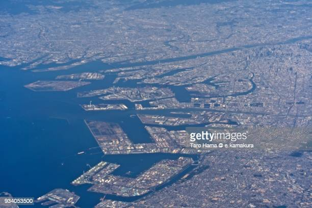 Osaka Bay and center of Osaka city in Osaka prefecture in Japan daytime aerial view from airplane