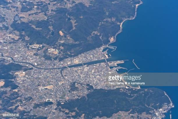 Osaka Bay and harbor in Sumoto city in Awaji Island in Hyogo prefecture in Japan daytime aerial view from airplane