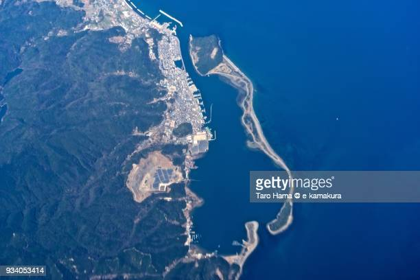 Osaka Bay and Narugashima Island in Sumoto city in Awaji Island in Hyogo prefecture in Japan daytime aerial view from airplane