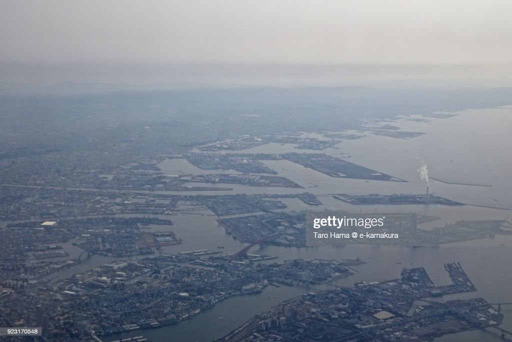 Osaka Bay and Osaka city in Osaka prefecture in Japan daytime aerial view from airplane : Stock-Foto