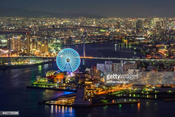 osaka bay osaka bay at dusk, osaka japan - 大阪市 ストックフォトと画像