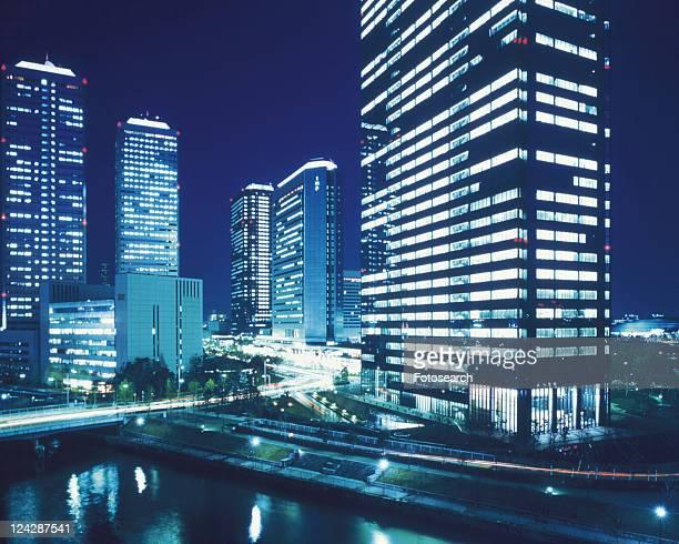 Osaka Business Park, night