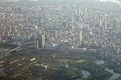 Osaka Castle and center of Osaka city in Osaka prefecture daytime aerial view from airplane