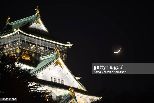 Osaka castle and the moon