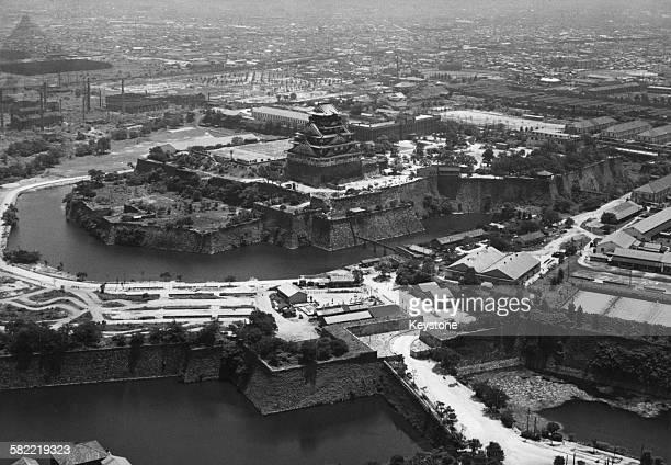 Osaka Castle in Osaka, Japan, 1956.
