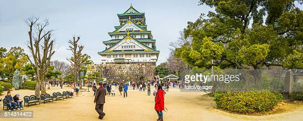 Burg Osaka Park Panorama Touristen besuchen Sie die legendäre japanische Wahrzeichen