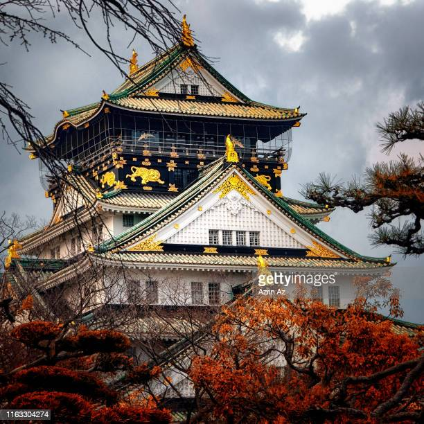 osaka castle - azrin az stock pictures, royalty-free photos & images