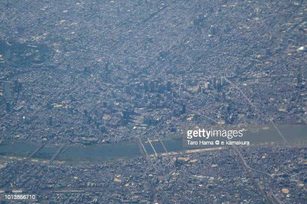 Osaka city in Japan daytime aerial view from airplane