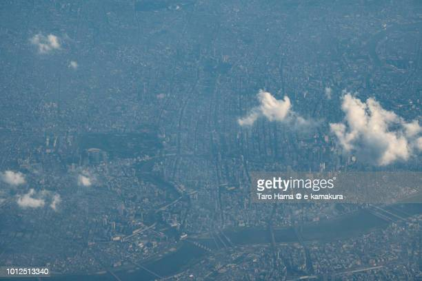 Osaka city in Osaka prefecture in Japan sunset time aerial view from airplane