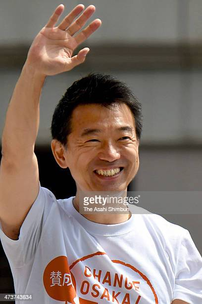 Osaka City Mayor Toru Hashimoto makes a street speech on the voting day of the referendum on May 17 2015 in Osaka Japan People vote in the referendum...