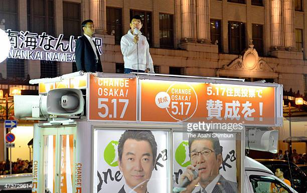 Osaka City Moyor Toru Hashimoto makes a street speech calling for support of the dissolving the Osaka City on May 16 2015 in Osaka Japan The...