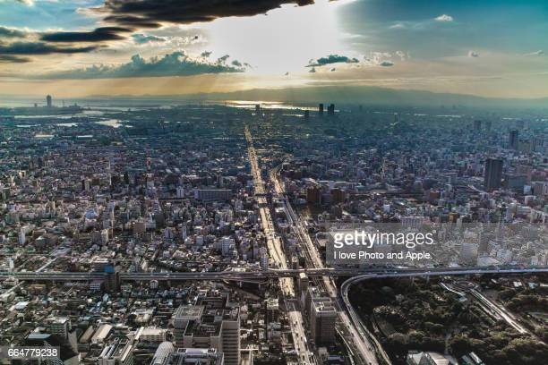 osaka city view - 現代的 stock pictures, royalty-free photos & images