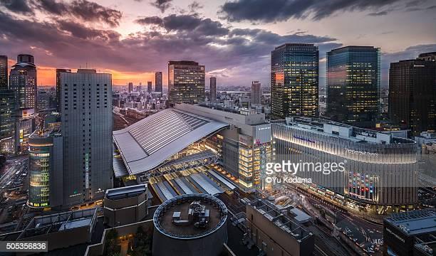Osaka city with dramatic sky