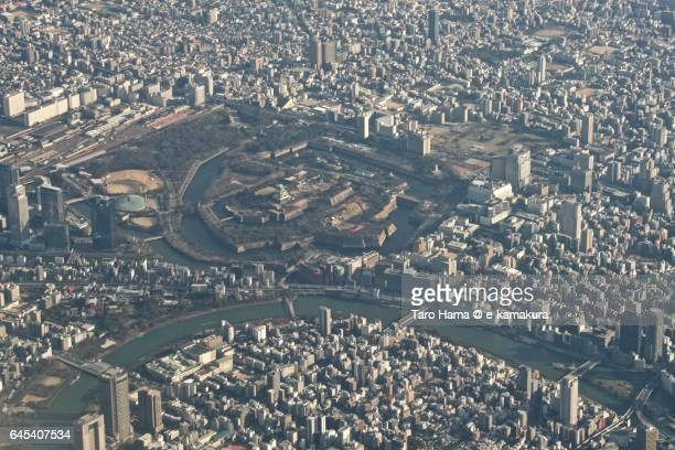 Osaka cityscape aerial view from airplane