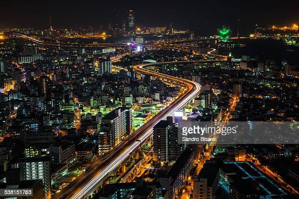 Osaka Cityscape at night with traffic lights