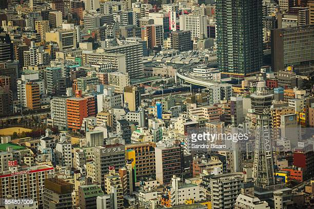 osaka cityscape of shinsekai - 通天閣 ストックフォトと画像