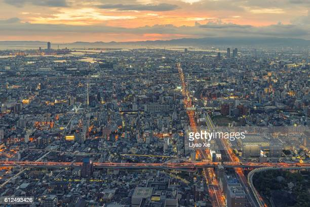 osaka cityscape - liyao xie stock pictures, royalty-free photos & images